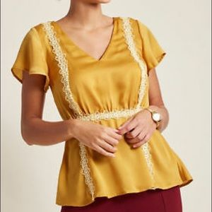 NWOT ModCloth Mustard Yellow Top with Lace
